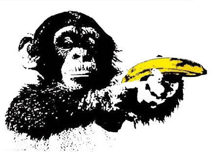 monkey shoots banana